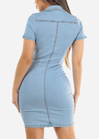 Light Wash Zip Up Denim Mini Dress