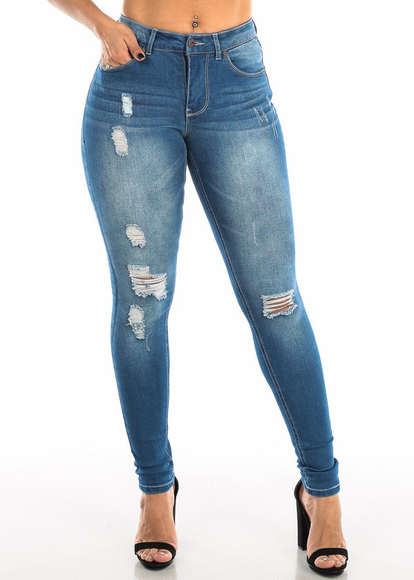 High Rise Med Wash Ripped Skinny Jeans