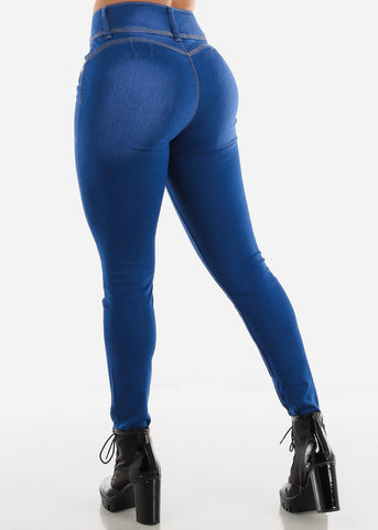 Image of Butt Lifting High Rise Blue Wash Skinny Jeans