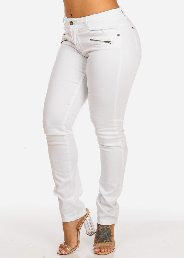 Mid Rise White Skinny Jeans