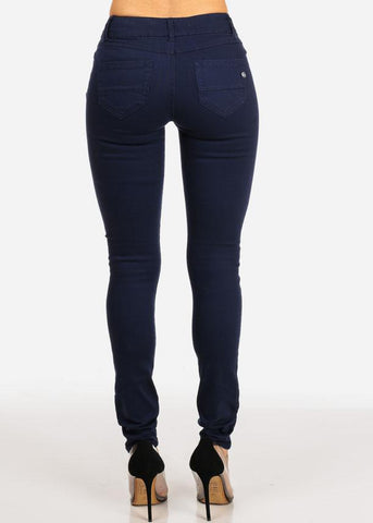 Stylish Low Rise 1 Button Navy Skinny Jeans