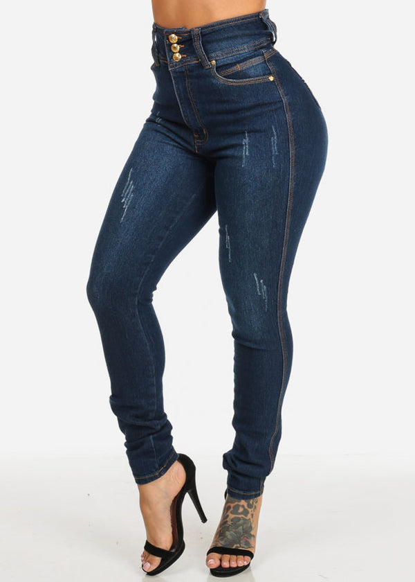 Butt Lifting High Waist Dark Wash Skinny Jeans