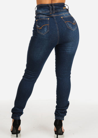 Image of Butt Lifting High Waist Dark Wash Skinny Jeans