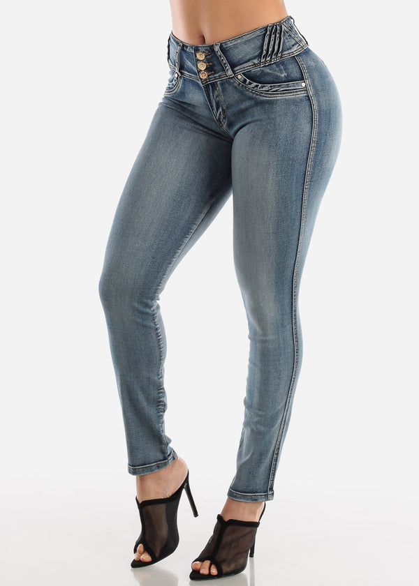 High Waisted Faded Butt Lifting Skinny Jeans