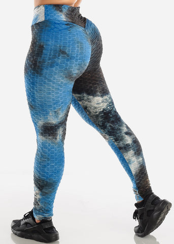 Anti Cellulite Tie Dye Royal Blue Sports Bra & Leggings  (2 PCE SET)