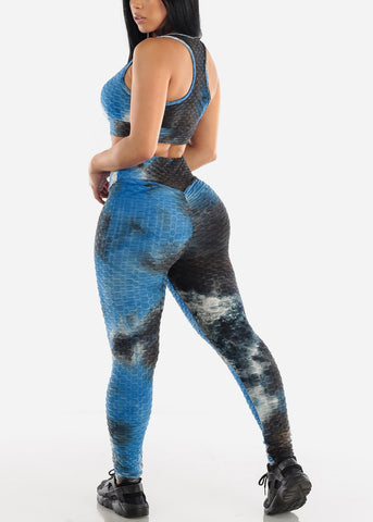 Image of Anti Cellulite Tie Dye Royal Blue Sports Bra & Leggings  (2 PCE SET)