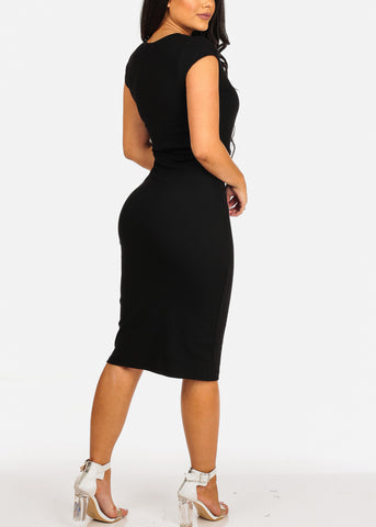 Image of Sexy Clubwear Short Sleeve V Neckline Black Bodycon Midi Dress
