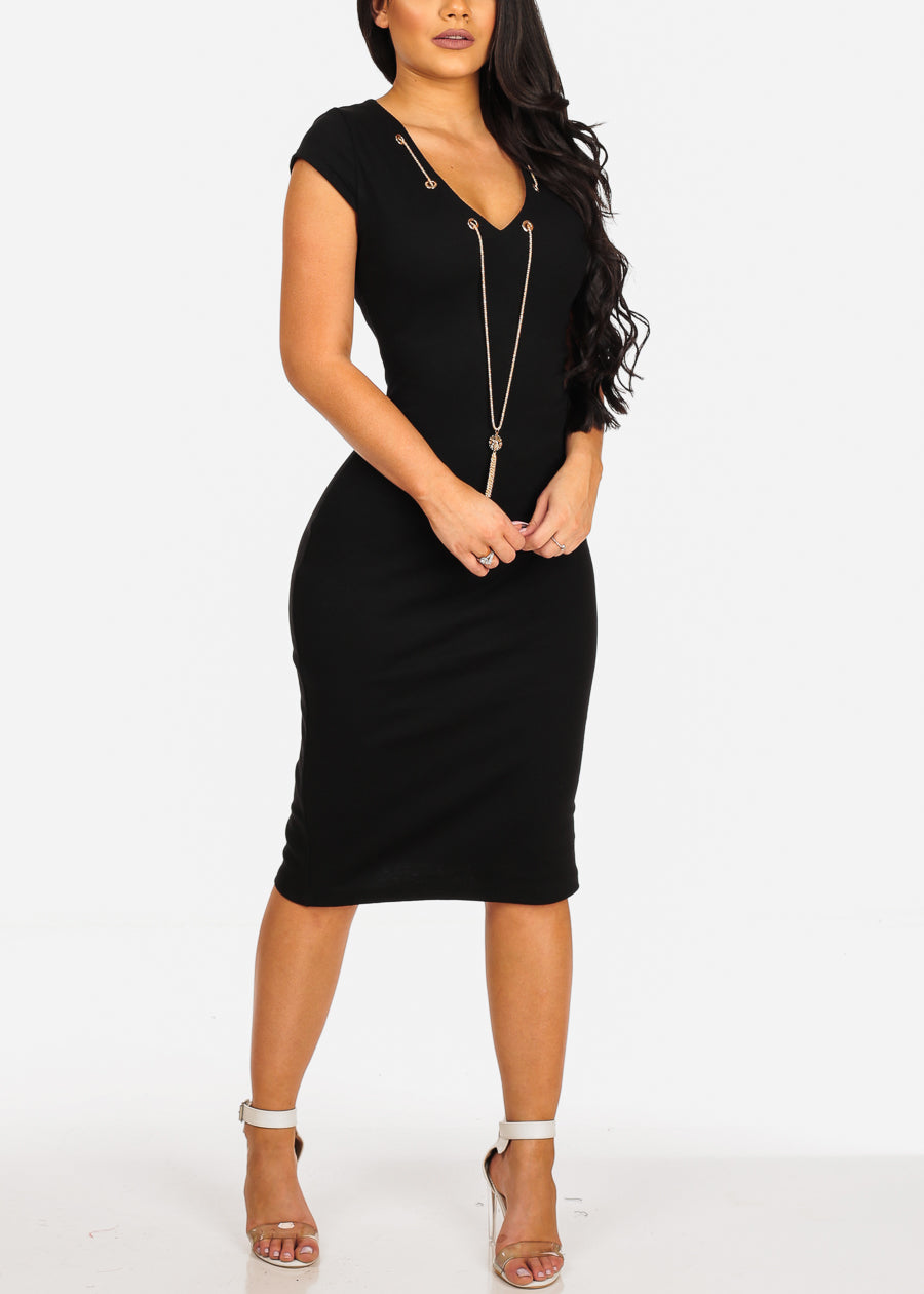 Sexy Clubwear Short Sleeve V Neckline Black Bodycon Midi Dress