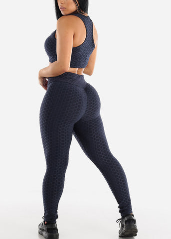Image of Anti Cellulite Navy Sports Bra & Leggings  (2 PCE SET)