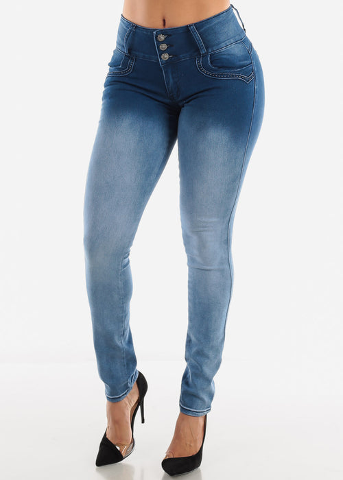 Mid Rise Butt Lifting Blue Fade Jeans