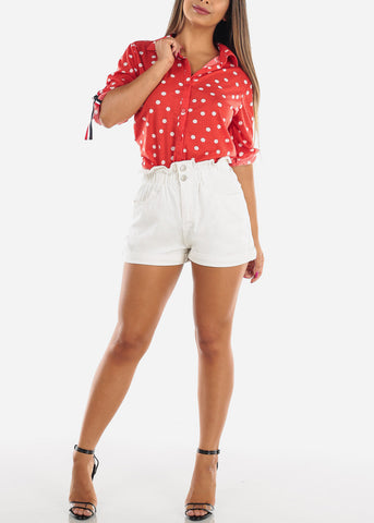 Image of Stylish Super High Waisted Solid White Denim Shorts For Women Ladies Junior 2019 New Modaxpress