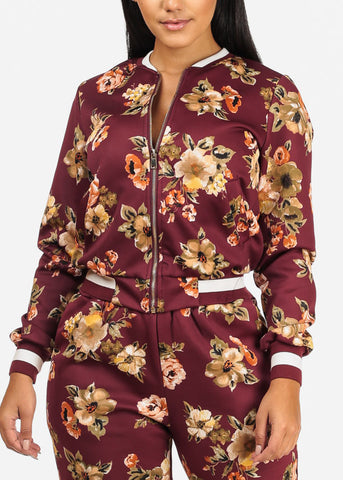 Wine Floral Jacket W Pockets