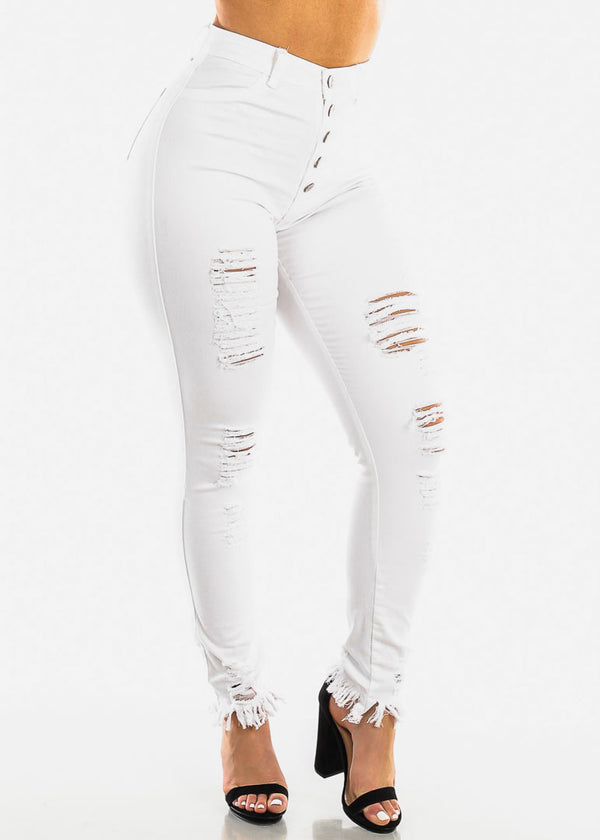 High Waisted Torn White Skinny Jeans