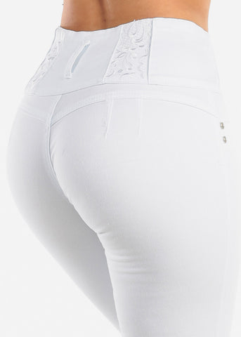 Sexy Levanta Cola Butt Lifting Colombian Design 4 Button White Mid Rise Skinny Jeans For Women Ladies Junior