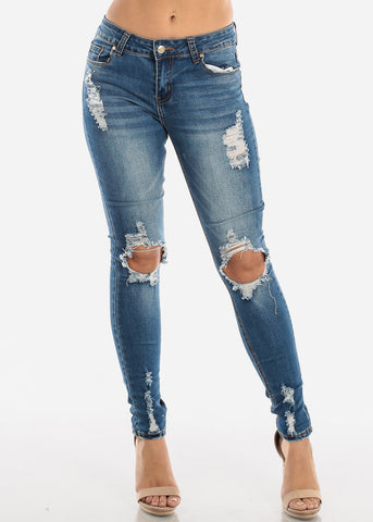 Image of Ripped Med Wash Skinny Jeans