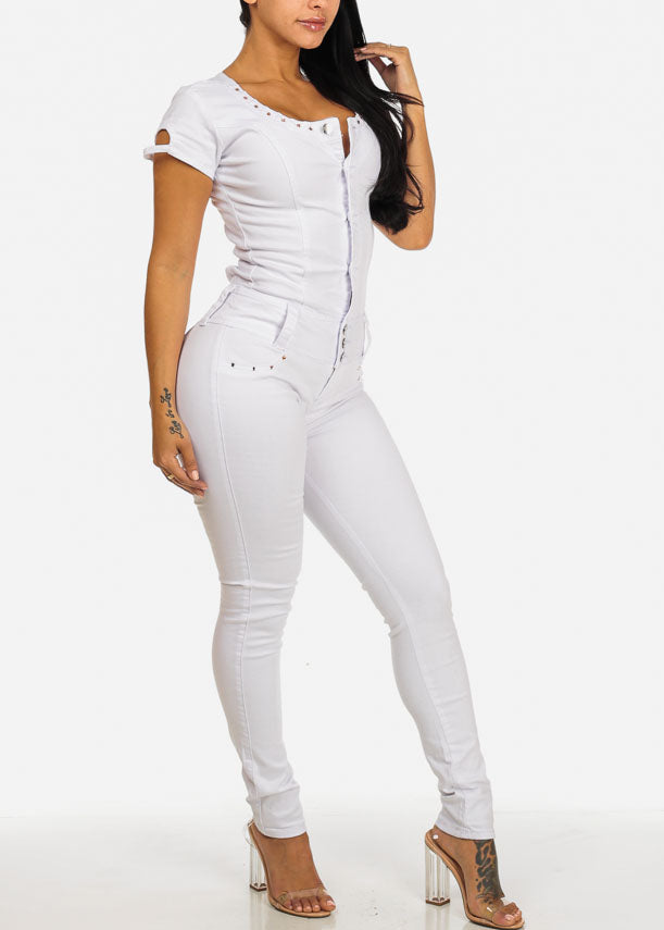 White Bodycon Cut Out Back Jumpsuit