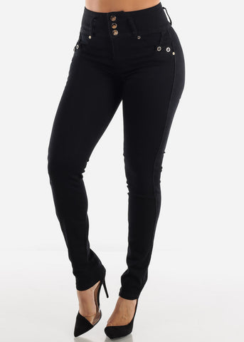 Image of High Rise Levanta Cola Black Skinny Jeans