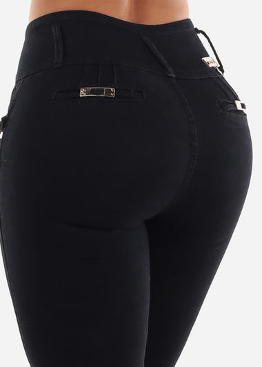 High Rise Levanta Cola Black Skinny Jeans