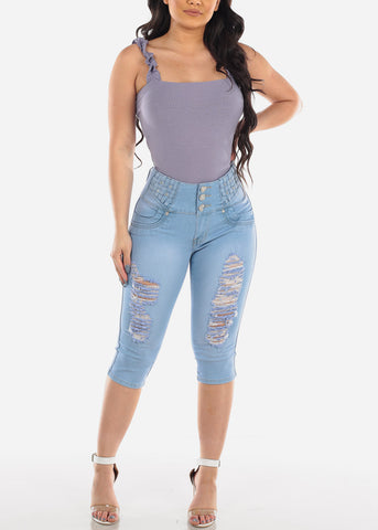 Butt Lifting Levanta Cola Colombian Design Light Wash Distressed 3 Button Denim Capri