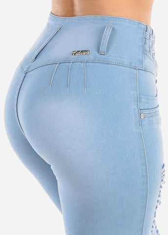 Image of Butt Lifting Levanta Cola Colombian Design Light Wash Distressed 3 Button Denim Capri