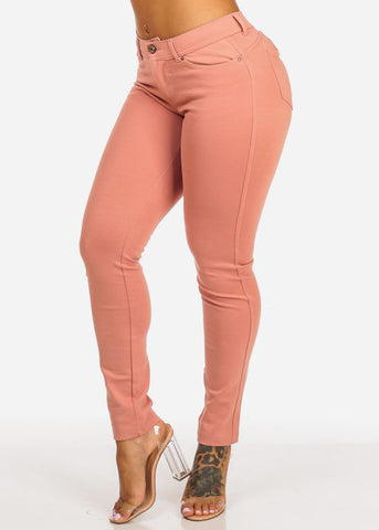 Image of Butt Lifting Mid Rise Pink Skinny Pants