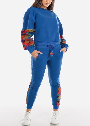 Image of Fuzzy Blue Sweater & Pants (2 PCE SET)