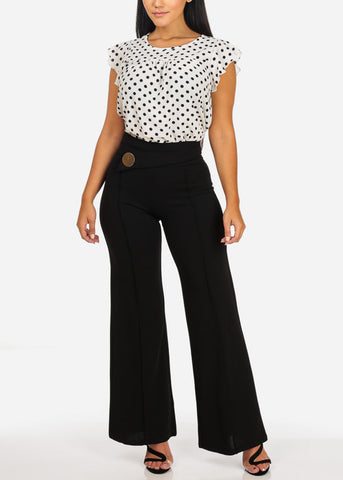 Image of Elegant High Waisted Wide Leg Black Pants