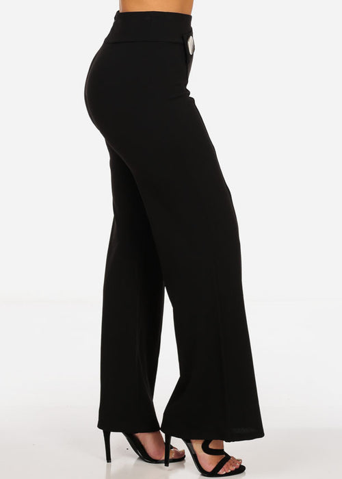 Elegant High Waisted Wide Leg Black Pants