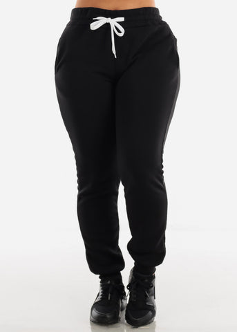 Image of Fleece Black Hoodie & Jogger Sweatpants (2 PCE SET)