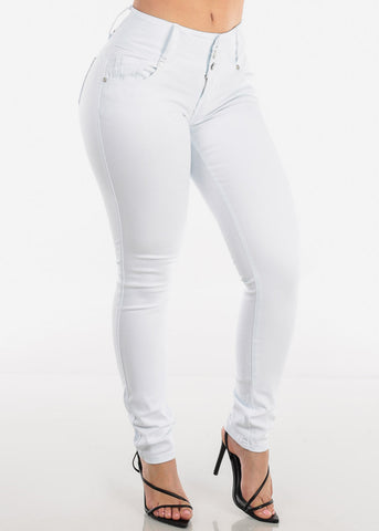 Image of Low Rise Butt Lifting White Skinny Jeans