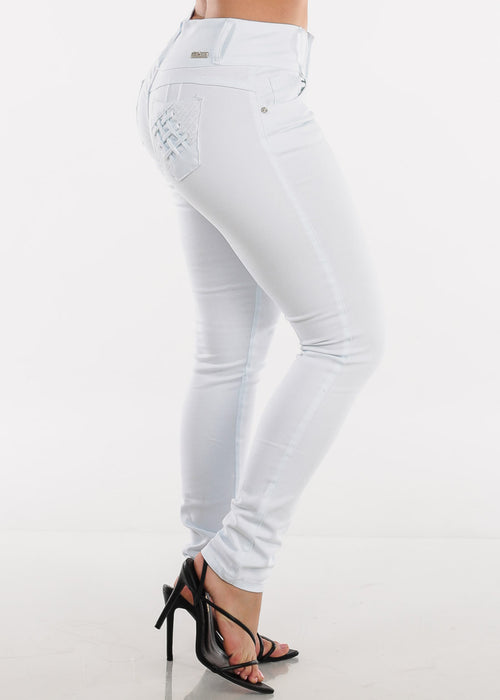 Low Rise Butt Lifting White Skinny Jeans
