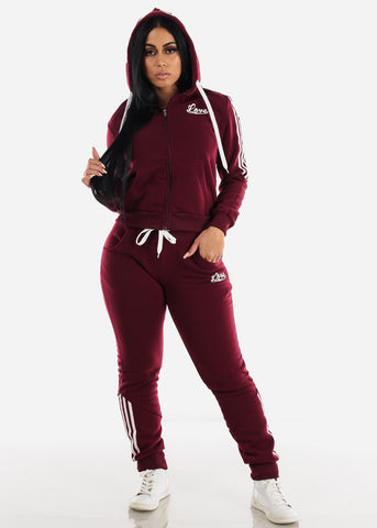 Burgundy Fleece Full Zip Up Hoodie & Jogger Sweatpants ( 2 PCE SET)
