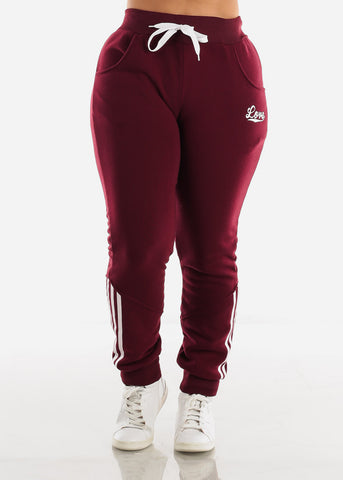 Image of Burgundy Fleece Full Zip Up Hoodie & Jogger Sweatpants ( 2 PCE SET)