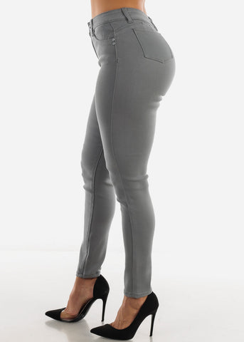 Image of High Waist Butt Lifting Grey Jeans