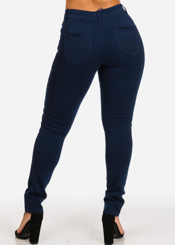 Butt Lifting Mid Rise Navy Skinny Pants
