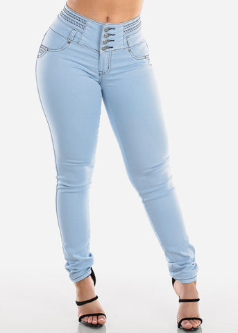 Sexy Butt Lifting Levanta Cola Mid Rise 3 Button Light Wash Denim Skinny Jeans For Women Ladies Junior