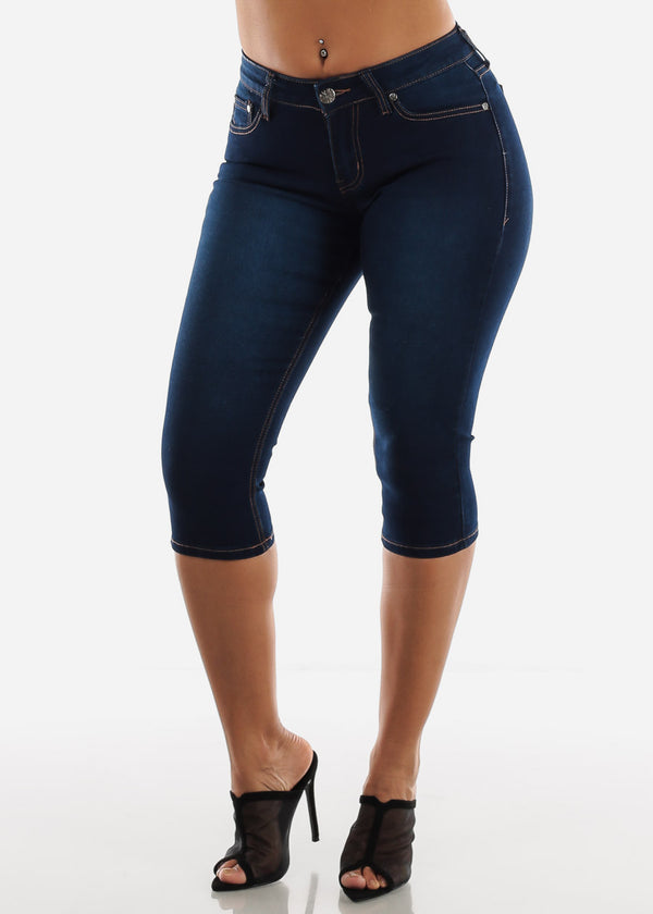 Mid Rise Dark Wash Denim Capris