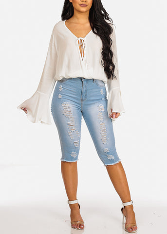 Trendy High Waisted Distressed Light Wash Denim Capris Jeans