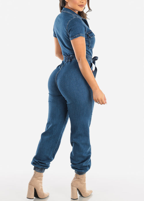 Dark Wash Cargo Denim Jumpsuit