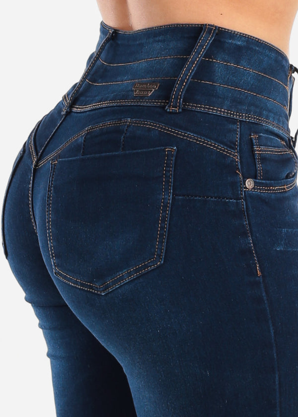 4 Button Dark Wash Butt Lifting Skinny Jeans