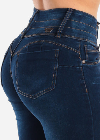 Image of 4 Button Dark Wash Butt Lifting Skinny Jeans