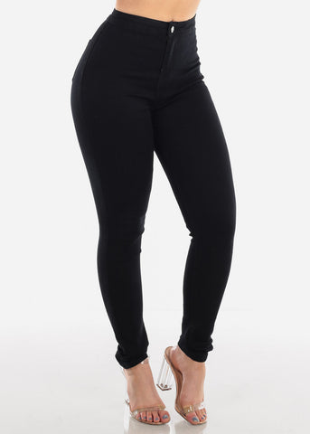 Image of Sexy High Waisted 1 Button Solid Black Stretchy Skinny Jeans For Women Ladies Junior