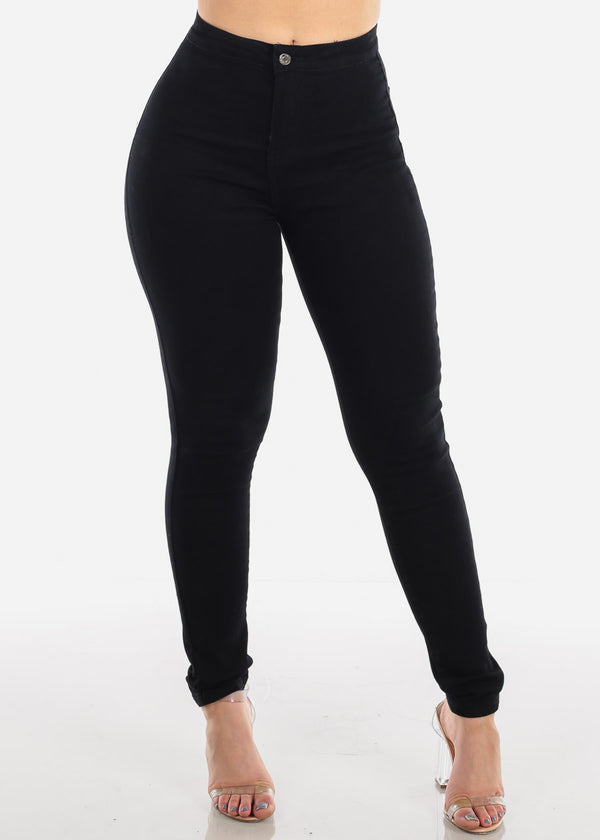 Sexy High Waisted 1 Button Solid Black Stretchy Skinny Jeans For Women Ladies Junior