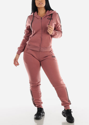 Brick Fleece Full Zip Up Hoodie & Jogger Sweatpants ( 2 PCE SET)