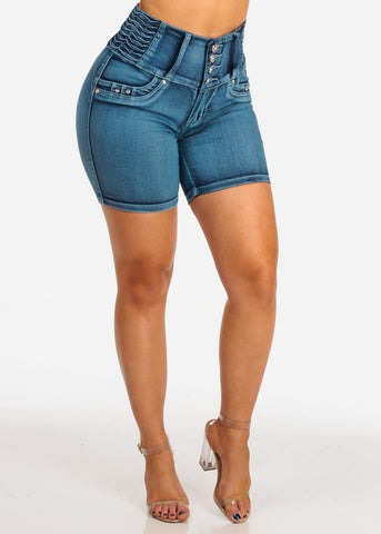 Women's Junior Ladies Must Have Sexy High Waisted Butt Lifting Blue Wash Denim Shorts