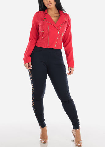 Image of Red Lace Front Moto Jacket