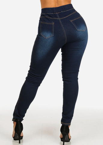 Dark Wash High Rise Lace Up Denim Jeans