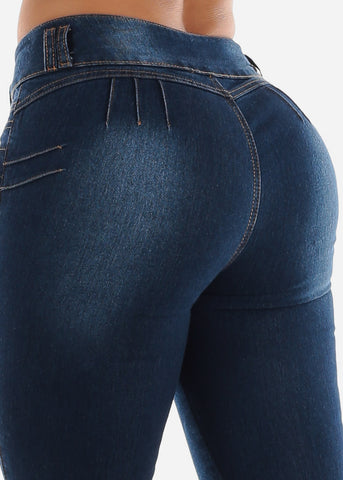 Image of Mid Rise Butt Lifting Dark Skinny Jeans