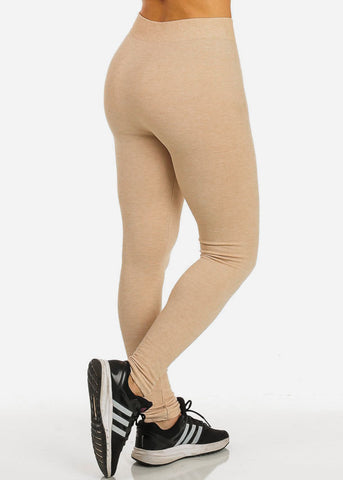 One Size Women's Thick Knit Oatmeal Leggings