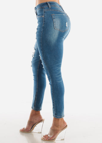 Image of Distressed Ankle Jeans